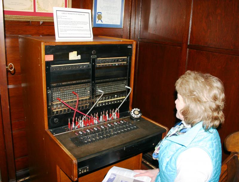 Marcia Nelson at the switchboard, Public Health Museum